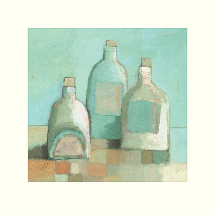Derek Melville (Still Life with Bottles I) Mounted Print