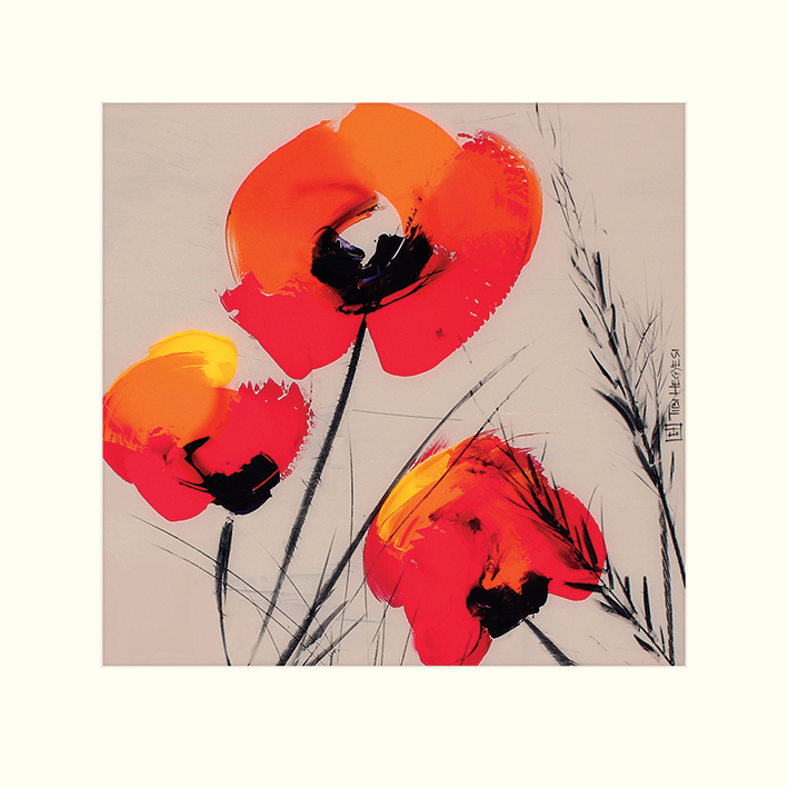 Tibi Hegyesi (Three Poppies - Grey) Mounted Print