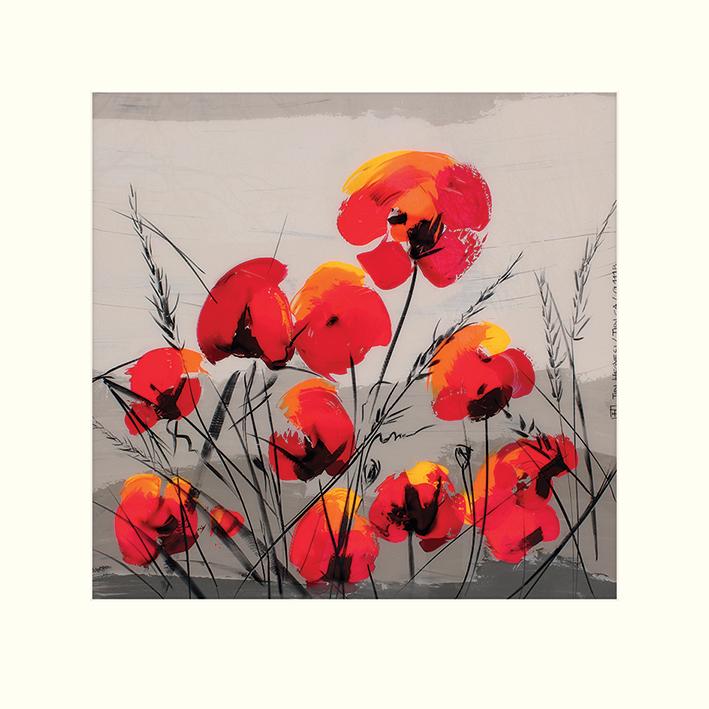 Tibi Hegyesi (Multiple Poppies) Mounted Prints