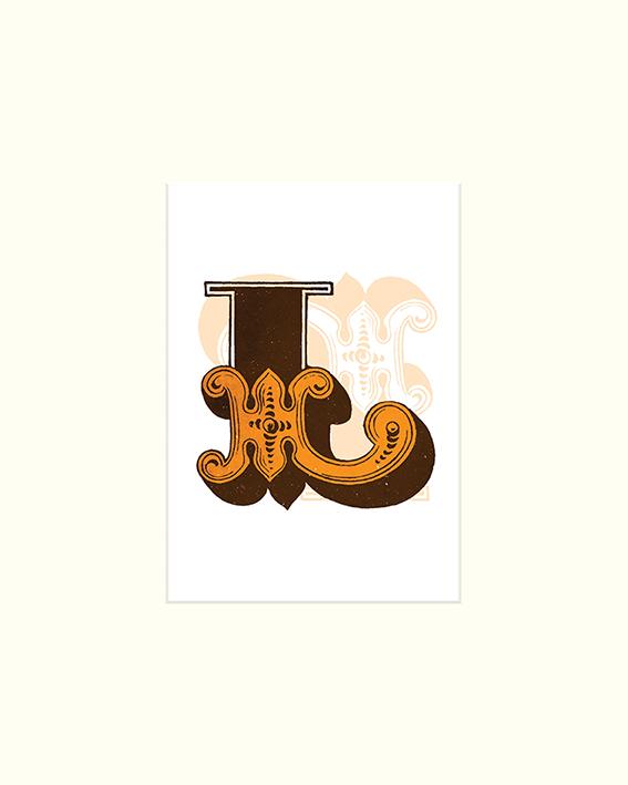 Vintage Letter (L) Mounted Print