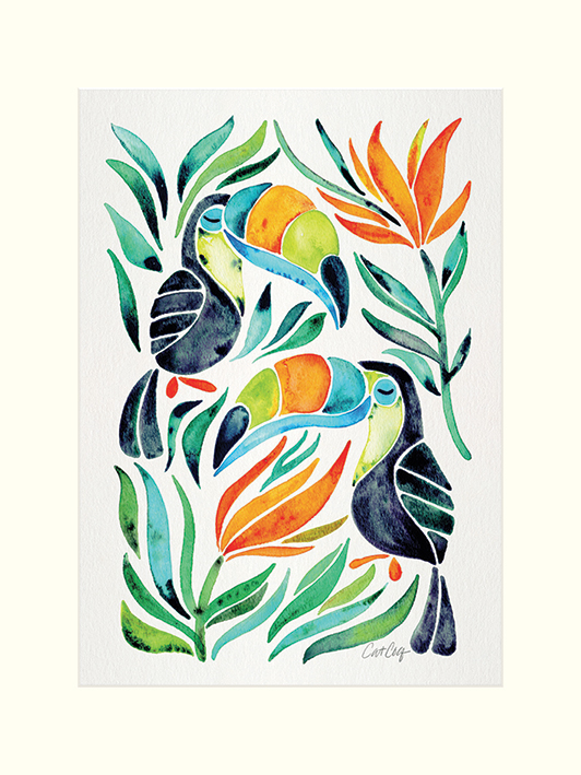 Cat Coquillette (Tropical Toucans) Mounted Prints