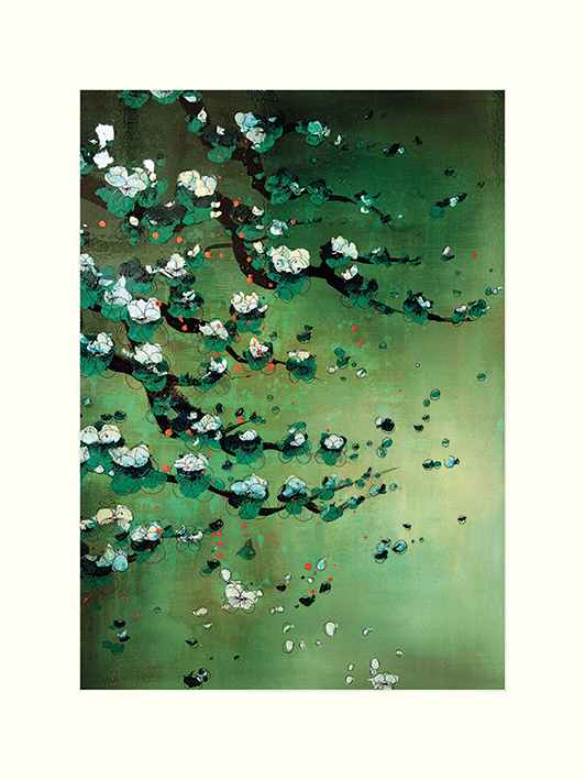 Lily Greenwood (Blossoms on Jade) Mounted Print