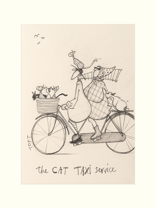 Sam Toft (The Cat Taxi Service Sketch) Mounted Print