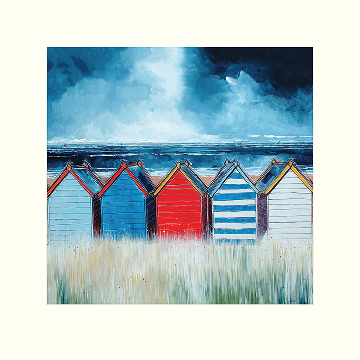 Stuart Roy (Beach Huts I) Mounted Print