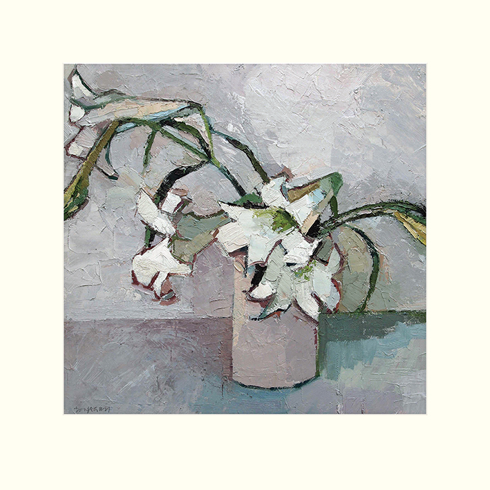 Paul Donaghy (White Lillies) Mounted Print