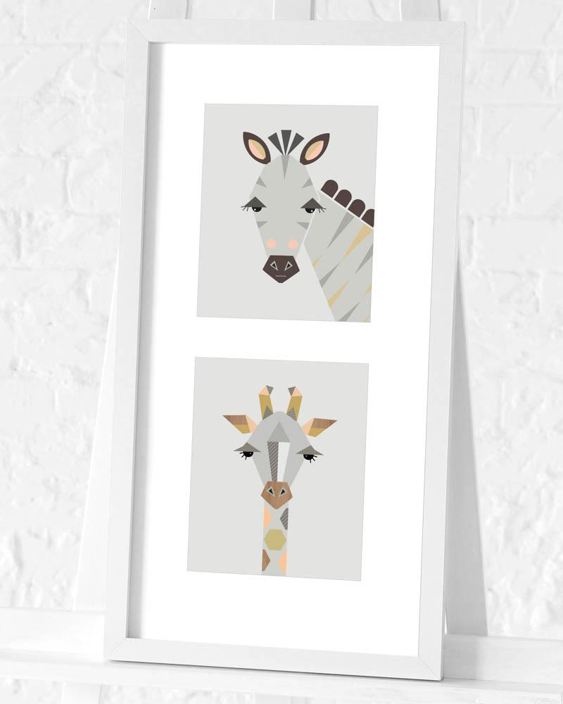 Little Design Haus (Zebra & Giraffe) Pre-Framed Art Print