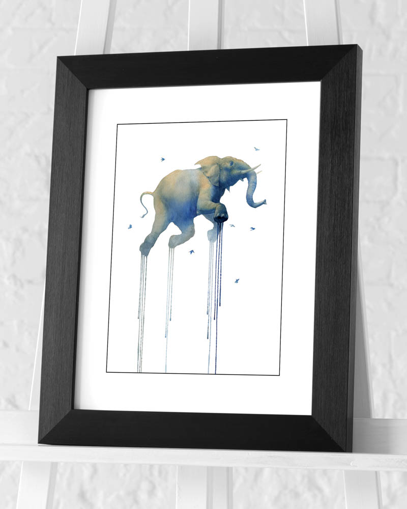 Oliver Flores (Journey 1 Elephant) Pre-Framed Art Print
