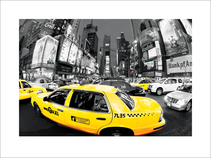 Rush Hour Times Square (Yellow Cabs) Art Print