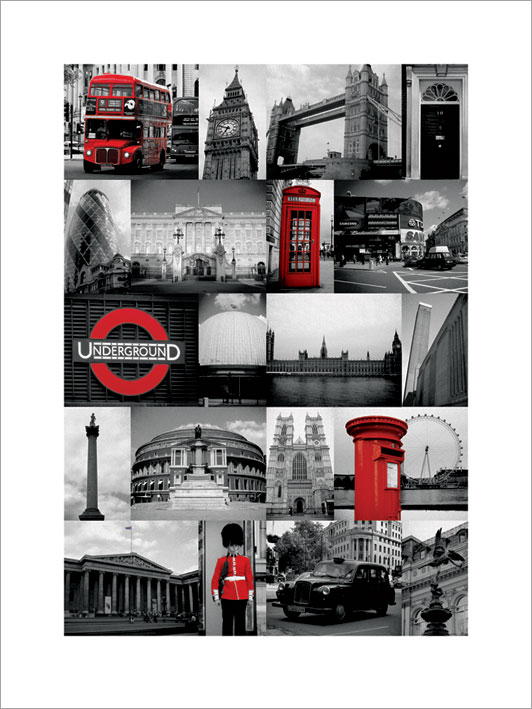 London (Red Collage) Art Prints
