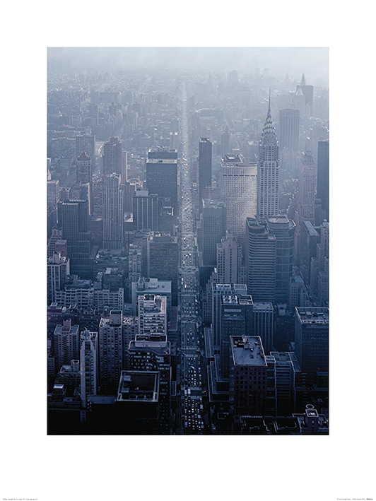 Pete Seaward (NY Aerial Straight Road) Art Prints