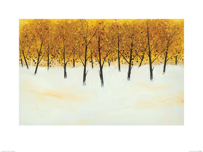 Stuart Roy (Yellow Trees on White) Art Print