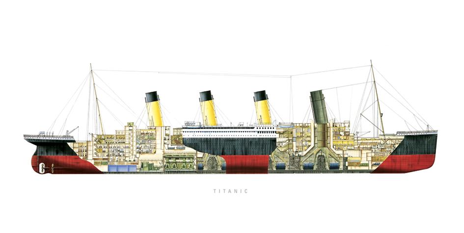 Titanic (Cutaway) Art Print