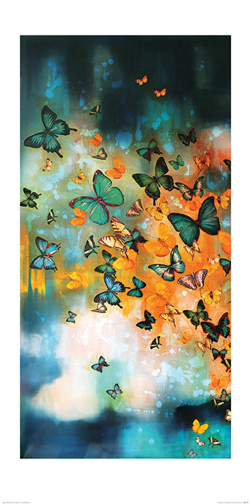 Lily Greenwood (Butterflies on Prussian Blue) Art Prints