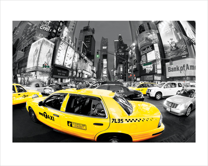 Rush Hour Times Square (Yellow Cabs) Art Prints