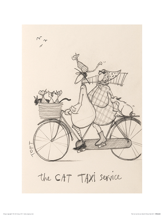 Sam Toft (The Cat Taxi Service Sketch) Art Print