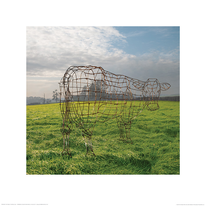 Pink Floyd (Wireframe Cow) Art Prints