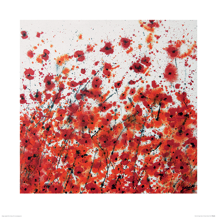 Simon Fairless (Red and Orange Flowers) Art Print