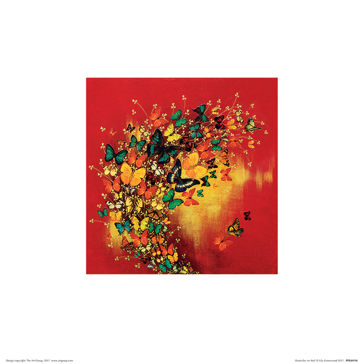 Lily Greenwood (Butterflies on Red) Art Print