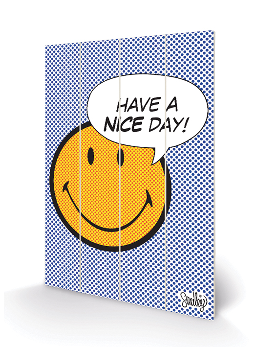 Smiley (Have A Nice Day - Dots) Wood Print