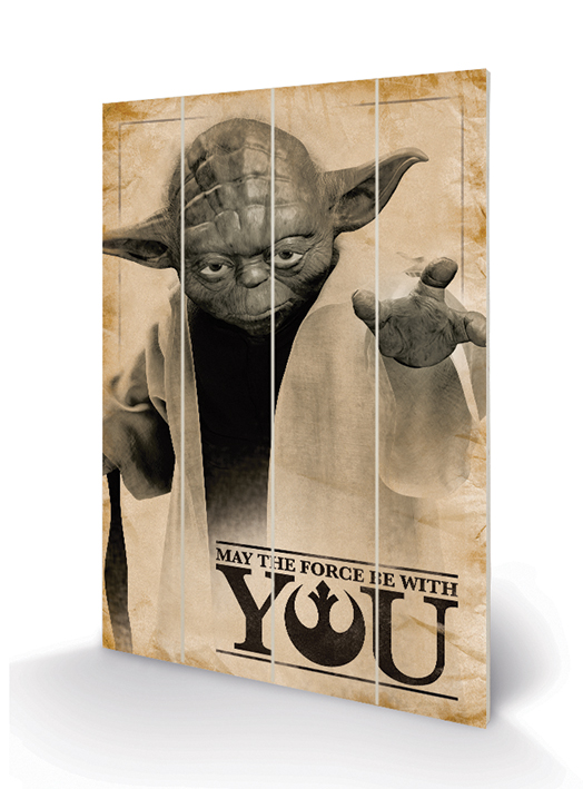 Star Wars (Yoda, May The Force Be With You) Wood Print