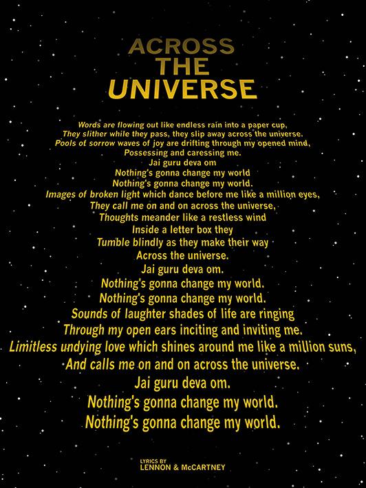 Lyrics by Lennon & McCartney (Across The Universe - Text Crawl) Canvas Prints