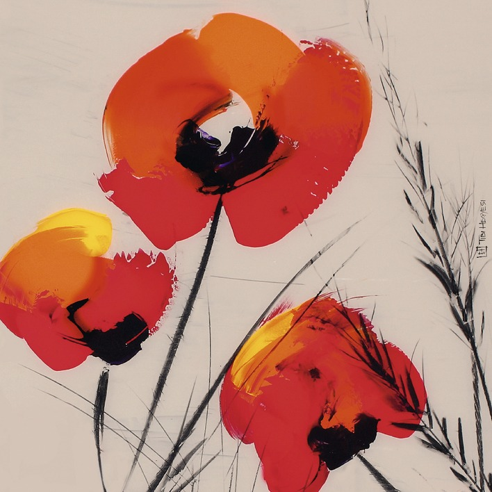 Tibi Hegyesi (Three Poppies - Grey) Canvas Print