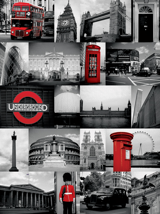 London (Red Collage) Canvas Print
