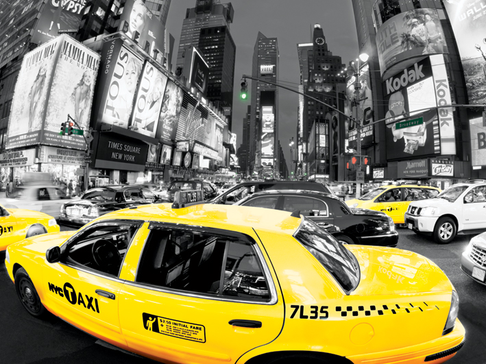 Rush Hour Times Square (Yellow Cabs) Canvas Prints