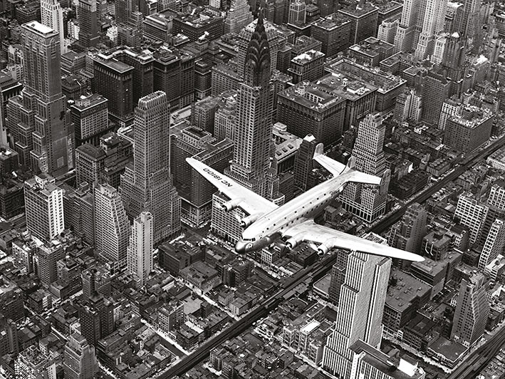 Time Life (DC-4 Over Manhattan) Canvas Prints