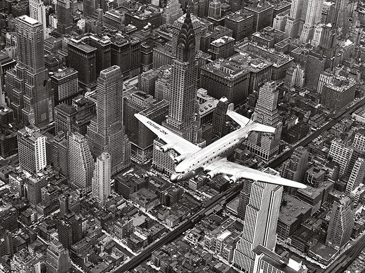 Time Life (DC-4 Over Manhattan) Canvas Print