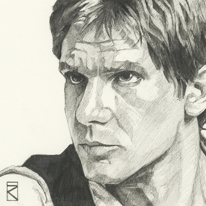 Star Wars (Han Solo Sketch) Canvas Print