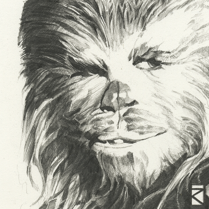 Star Wars (Chewbacca Sketch) Canvas Print