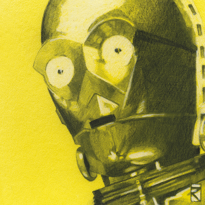 Star Wars (C3PO Sketch) Canvas Print