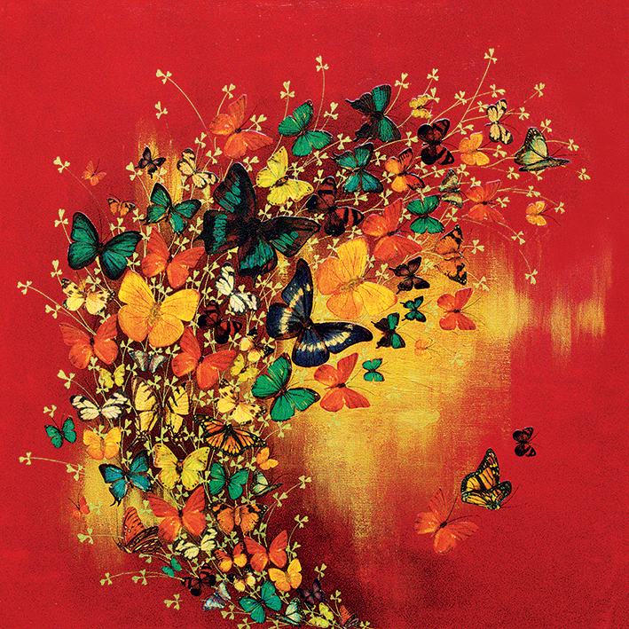 Lily Greenwood (Butterflies on Red) Canvas Prints