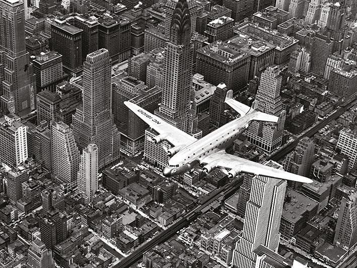 Time Life (DC-4 Over Manhattan) Canvas Prints