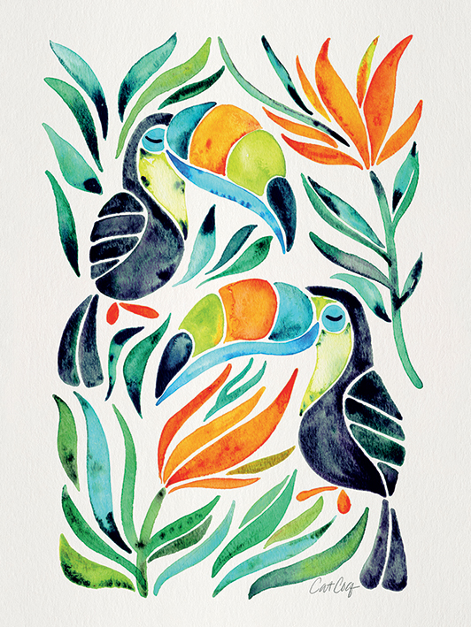 Cat Coquillette (Tropical Toucans) Canvas Prints