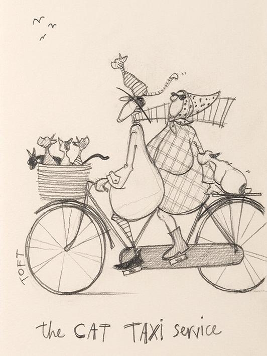 Sam Toft (The Cat Taxi Service Sketch) Canvas Print