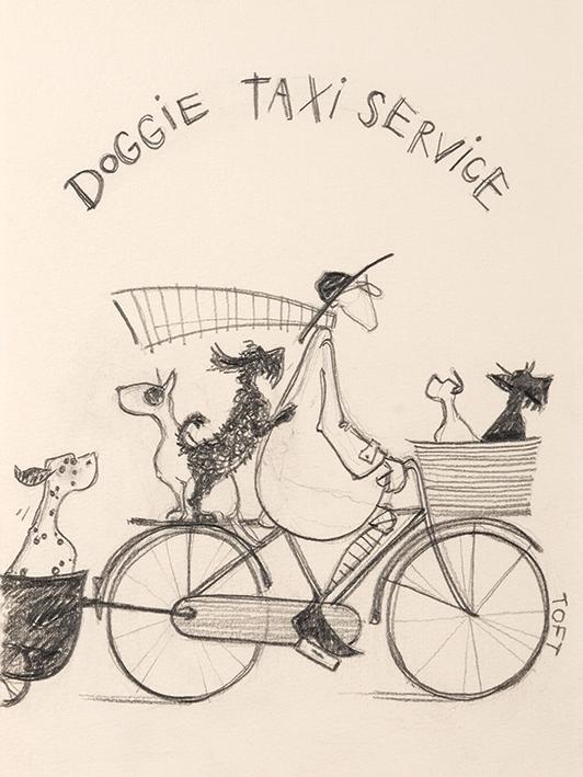 Sam Toft (Doggie Taxi Service Sketch) Canvas Prints