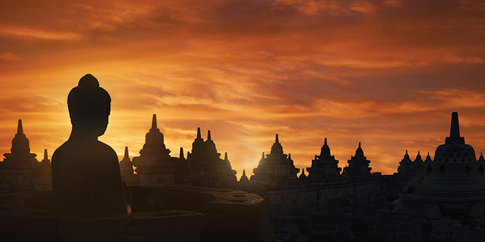 Golden Silhouette, Indonesia Canvas Print