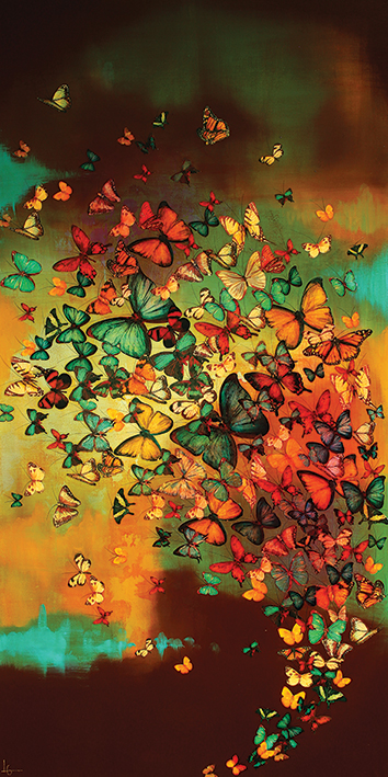 Lily Greenwood (Butterflies on Burnt Umber) Canvas Prints