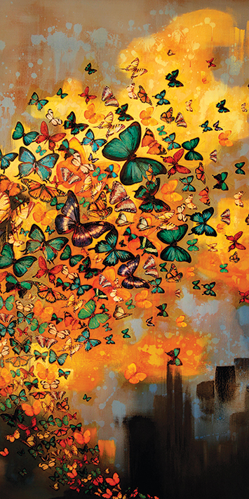 Lily Greenwood (Butterflies on Ochres & Greys) Canvas Prints