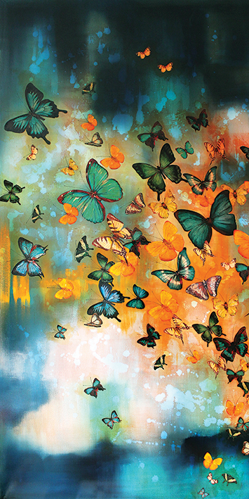 Lily Greenwood (Butterflies on Prussian Blue) Canvas Print