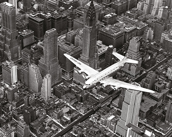 Time Life (DC-4 Over Manhattan) Canvas Print
