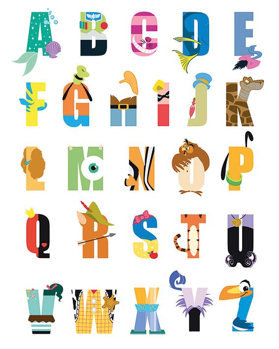 Disney (Alphabet) Canvas Prints