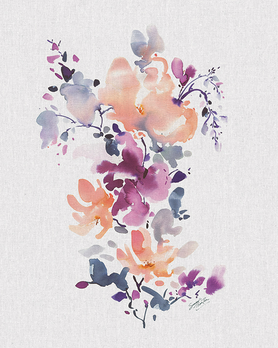 Art Print  PPR41201   50cm  x 100cm Summer Thornton Birds and Blossom