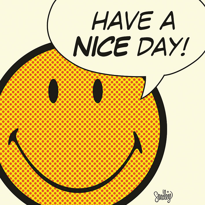 Smiley (Have A Nice Day - Cream) Canvas Print