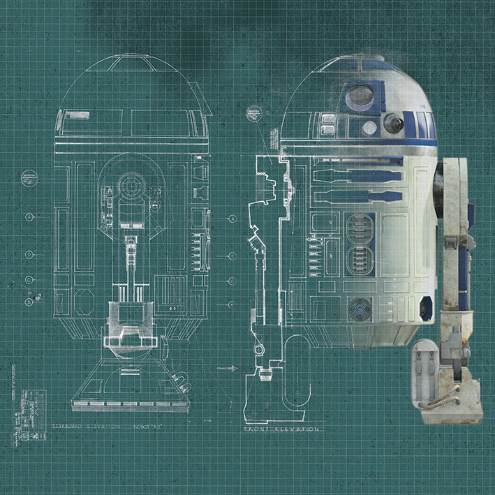 Star Wars (R2D2 Blueprint) Canvas Print
