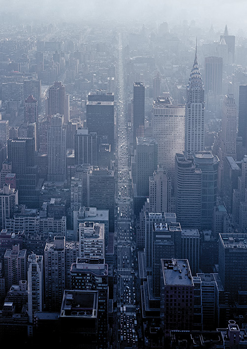 Pete Seaward (NY Aerial Straight Road) Canvas Prints
