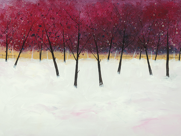 Stuart Roy (Red Trees on White) Canvas Print