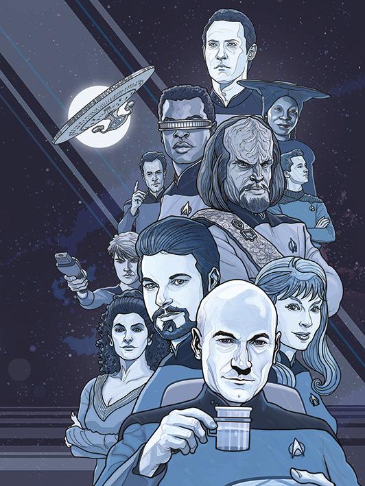 Star Trek (Next Generation Blue) 50th Anniversary Canvas Prints